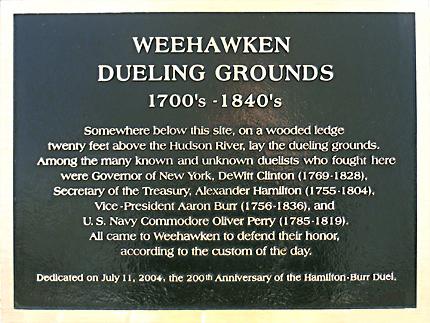 Weehawken site of the Alexander Hamilton and Aaron Burr duel