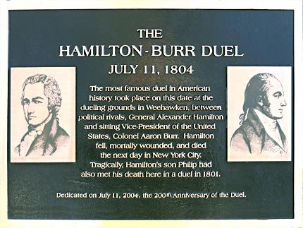 Alexander Hamilton Duel Site